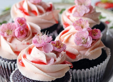 Chocolate Cupcakes with Buttercream and Strawberry Jam Drizzle